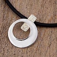 Sterling silver pendant necklace, 'Circular Love' - Sterling Silver Modern Pendant Necklace from Mexico
