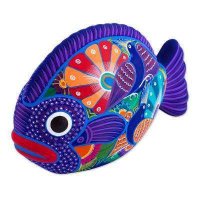 Ceramic sculpture, 'Love Fish' - Hand Painted Decorative Vibrant Fish Sculpture from Mexico