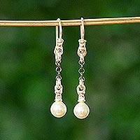 Cultured pearl dangle earrings, 'Graceful Pearls' - Cultured Pearl and Silver Dangle Earrings from Mexico
