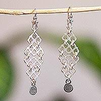 Silver dangle earrings, 'Spiraling Waves' - Handcrafted Sterling Silver Dangle Earrings from Mexico