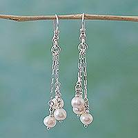 Cultured pearl waterfall earrings, 'Cascade of Pearls' - Sterling Silver and Cultured Pearl Waterfall Earrings