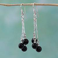 Onyx waterfall earrings, 'Cascade of Onyx' - Onyx and Sterling Silver Waterfall Earrings from Mexico