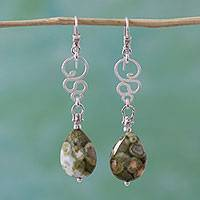 Jasper dangle earrings, 'Serpent Gems' - Jasper and Silver Serpent Dangle Earrings from Mexico