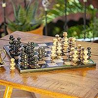 Marble chess set, 'Worthy Match' - Marble Chess Set in Beige and Black from Mexico
