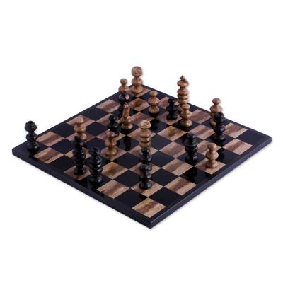 Marble Chess Set in Beige and Black from Mexico