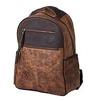 Men's leather backpack, 'All Terrain Adventure' - Men's Handcrafted Brown Leather Backpack from Mexico