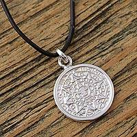 Sterling silver pendant necklace, 'Aztec History' - Mexican Aztec Calendar Unisex Necklace in Silver 925