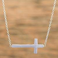 Sterling silver pendant necklace, 'My Faith' - Modern Cross Necklace Handcrafted of Taxco Sterling Silver
