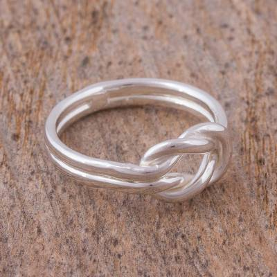 Sterling silver ring, 'For Infinity' - Handcrafted Lightweight Sterling Silver Infinity Knot Ring