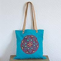 Cotton tote bag, 'Love Mandala' - Cotton Tote Bag with Embroidered Mandala from Mexico