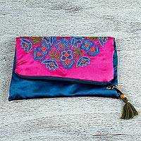 Silk clutch, 'Mandala Party' - Embroidered Silk Floral Clutch in Fuchsia from Mexico
