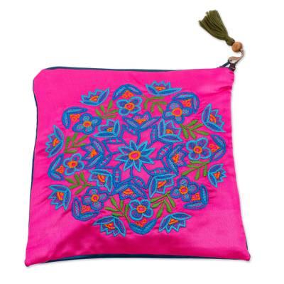 Embroidered Silk Floral Clutch in Fuchsia from Mexico