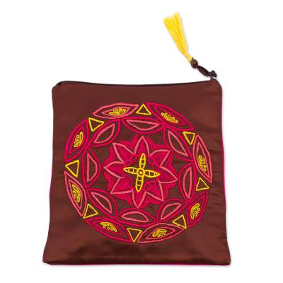 Embroidered Silk Floral Clutch in Mahogany from Mexico