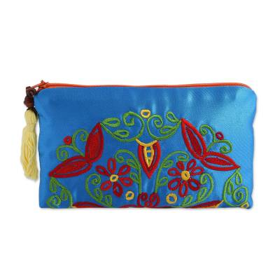 Embroidered Silk Floral Clutch in Cerulean from Mexico