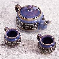 Ceramic teapot and cups, 'Chapala Waves' (set for two) - Blue Ceramic Tea Set for Two Handcrafted in Mexico