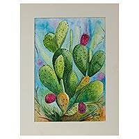 'Prickly Pear with Red Fruits' - Signed Impressionist Painting of a Cactus from Mexico