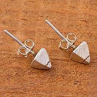 Sterling silver stud earrings, 'Teotihuacan' - Modern Mexican Sterling Silver Stud Earrings