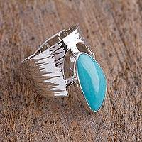 Turquoise cocktail ring, 'Imperial Crown' - Turquoise and Sterling Silver Cocktail Ring from Mexico