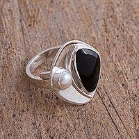 Obsidian and cultured pearl cocktail ring, 'Artistic Moon' - Obsidian and Cultured Pearl Cocktail Ring from Mexico