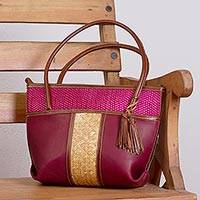 Palm accent leather shoulder bag, 'Maroon Intersection' - Handcrafted Leather and Palm Shoulder Bag in Maroon