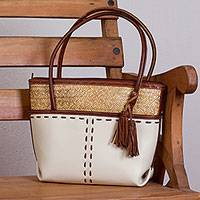 Palm accent leather shoulder bag, 'Ivory Crossroads' - Handcrafted Leather and Palm Shoulder Bag in Ivory