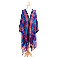 Cotton and silk blend rebozo, 'Color Party' - Multicolored Cotton and Silk Blend Shawl from Mexico