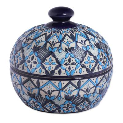 Ceramic decorative jar, 'Drops of the Sky' - Hand-Painted Ceramic Decorative Jar in Blue from Mexico