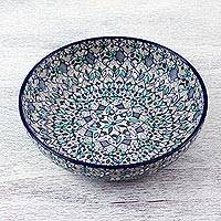 Ceramic serving bowl, 'Casa Azul' - Hand Painted Ceramic Bowl from Mexican Artisan