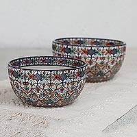 Ceramic bowls, 'Playful Flora' (pair) - Multicolored Ceramic Bowls from Mexico (Pair)