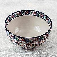 Ceramic serving bowl, 'Guanajuato Festivals' - Handcrafted Floral Ceramic Serving Bowl from Mexico