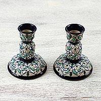 Ceramic candlesticks, 'Green Valley ' (pair) - Artisan Crafted Ceramic Candlesticks from Mexico (Pair)