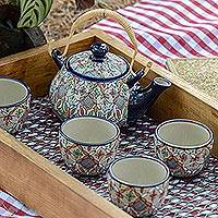 Ceramic tea set, 'Playful Flora' (set for 4) - Multicolored Ceramic Tea Set from Mexico