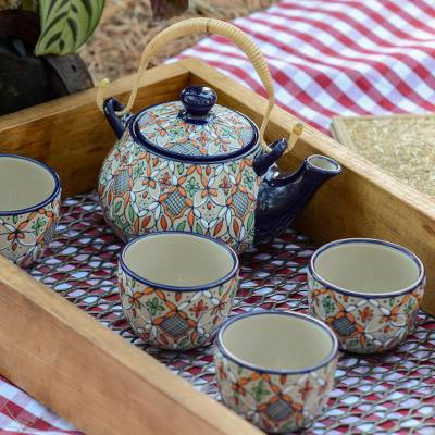 Ceramic tea set, Playful Flora (set for 4)