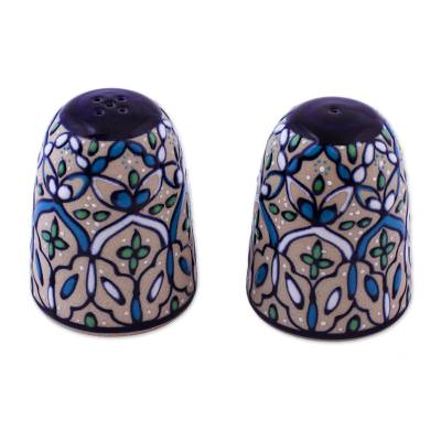 Ceramic salt and pepper shakers, 'Road to Guanajuato' (pair) - Handcrafted Ceramic Salt and Pepper Shaker in Green and Blue