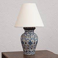 Ceramic table lamp, 'Blue Sky of Mexico' - Hand-Painted Ceramic Table Lamp from Mexico
