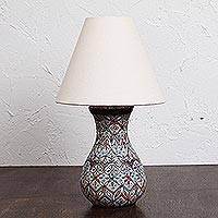 Ceramic table lamp, 'Colorful Light' - Hand-Painted Multicolored Ceramic Table Lamp from Mexico