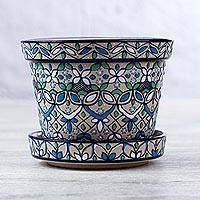 Small ceramic planter and saucer, 'Guanajuato Azul' - Artisan Crafted Plant Pot and Saucer in Blue and Green