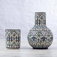 Ceramic carafe and cup set 'Green Valley' (pair) - Fair Trade Ceramic Carafe and Cup Set from Mexico (Pair)