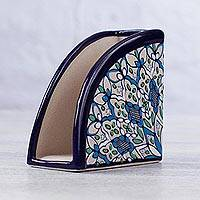 Ceramic napkin holder, 'Road to Guanajuato' - Ceramic Napkin Holder Handcrafted in Green and Blue