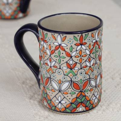 Ceramic mug, 'Playful Flora' - Multicolored Ceramic Mug Crafted in Mexico