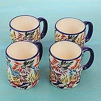 Ceramic mugs, 'Dance of Colors' (set of 4) - Multicolored Ceramic Floral Coffee Mugs ( Set of 4)