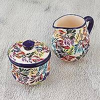 Ceramic sugar bowl and creamer set, 'Dance of Colors' - Ceramic Sugar Bowl and Creamer Set from Mexico