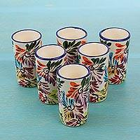 Ceramic tequila cups, Dance of Colors (set of 6) - Set of 6 Colorful Ceramic Tequila Cups from Mexico