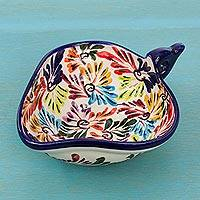 Ceramic salsa bowl, 'Dance of Colors' - Salsa Bowl Handmade from Ceramic in Mexico