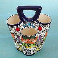 Ceramic utensil holder, 'Floral Joy' - Hand Crafted Ceramic Utensil Holder from Mexico
