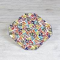 Ceramic platter, 'Dance of Colors' - Octagonal Ceramic Platter with Hand Painted Floral Motifs