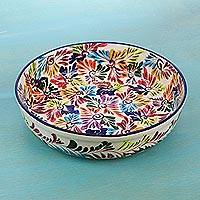 Ceramic fruit bowl, 'Dance of Colors' - Mexican Ceramic Fruit Bowl with Hand Painted Floral Motifs