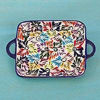 Ceramic tray, 'Dance of Colors' - Mexican Ceramic Tray with Hand Painted Floral Motifs