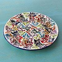 Ceramic egg platter, 'Dance of Colors' - Mexican Ceramic Egg Platter with Hand Painted Floral Motifs