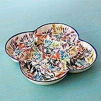 Ceramic snack dish, 'Dance of Colors' - Mexican Ceramic Snack Dish with Hand Painted Floral Motifs
